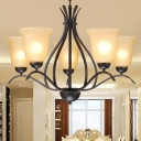 Bell Cream Glass Pendant Chandelier Retro 3/5/8 Bulbs Bedroom Hanging Light in Black