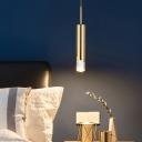 1 Light Bedside Suspension Pendant Light Modern Gold Hanging Lamp with Tube Metal Shade