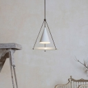Contemporary 1 Bulb Ceiling Lamp White Tapered Hanging Light Kit with Metal Shade