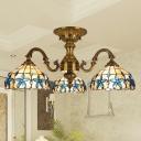 Bowl Ceiling Light Fixture Tiffany Hand Cut Glass 3 Lights Blue Semi Flush Mount Lamp