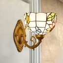 Colorful Cut Glass Bowl Shade Sconce Mediterranean 1 Light Brass Wall Mounted Vanity Light for Bathroom