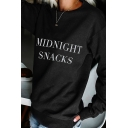 Hot Popular Letter Print Long Sleeve Regular Fit Pullover Sweatshirt for Ladies