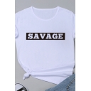 Creative Square Letter SAVAGE Printed Short Sleeves Basic T-Shirt for Women