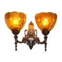 Stained Glass Blue/Gold/Tan Sconce Light Grid Patterned 2 Lights Baroque Wall Mount Lighting for Bedroom