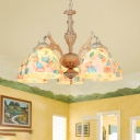 Mosaic Stained Art Glass Chandelier Pendant Light Baroque 3/5 Lights White Suspension Lamp, Up