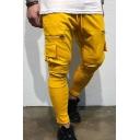 Men's Sport Plain Zipper Panel Jogging Fitness Pants Skinny Trousers