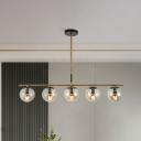 Cognac Glass Sphere Island Light Modernist 5 Heads Ceiling Suspension Lamp for Dining Room