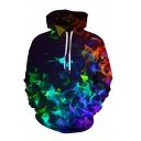Unique Colorful Geometric 3D Pattern Long Sleeves Black Pullover Hoodie