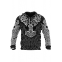 Vintage Style Black Viking Mythology 3D Print Long Sleeves Casual Pullover Hoodie