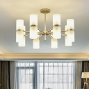 Modern 16 Heads Chandelier Light Gold Cylinder Pendant Lighting Fixture with Frosted Glass Shade