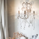 Countryside Curved Arm Wall Mounted Lamp 3 Lights Metal Sconce in Gold/Silver for Living Room with Crystal Draping
