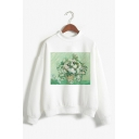 Creative Spoof Oil Painting Pattern Long Sleeve Mock Neck White Pullover Sweatshirt