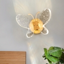 LED Bedroom Sconce Light Minimalism Gold Wall Mounted Lamp with Butterfly Bubble Crystal Shade