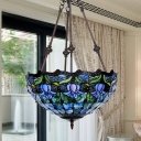 Stained Glass Flower Pendant Chandelier Tiffany 2 Lights Red/Blue Ceiling Suspension Lamp for Restaurant