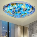 Blue 2/3/4 Lights Flush Mount Lamp Tiffany Stained Art Glass Domed Flushmount for Bedroom, 12