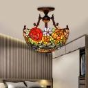 Stained Glass Red/Orange/Green Semi Flush Ceiling Light Flower Bush 3 Lights Mediterranean Lighting Fixture for Living Room