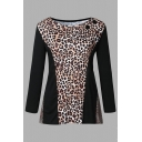 Trendy Ladies' Long Sleeve Boat Neck Leopard Print Patched Relaxed Fit Tee in Black
