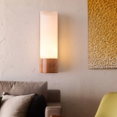 Cylinder Sconce Asian Opal Glass 3 Bulbs Wood Wall Mount Light Fixture for Living Room