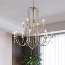 9/12 Lights Hanging Chandelier Traditional Two-Tiered Clear Crystal Pendant Light Fixture in Silver