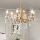 6 Lights Crystal Hanging Chandelier Minimalist Gold Candelabra Dining Room Pendant Lighting Fixture