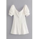 Elegant Pretty White Short Sleeve V-Neck Frog Button Slim Fit Mini A-Line Dress for Girls