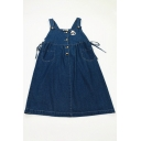 Cute Preppy Girls' Sleeveless Button Front Panda Print Drawstring Side Midi Denim Pinafore Babydoll Dress in Dark Blue