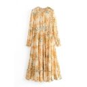 Women's Yellow Trendy Long Sleeve Crew Neck All Over Floral Long Pleated Swing Dress