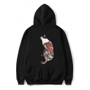 Hip Hop Style Japanese Letter Cat Printed Long Sleeve Oversized Retro Hoodie