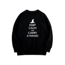 Unique Witch Hat Letter KEEP CALM CARRY A WAND Print Long Sleeves Oversized Sweatshirt