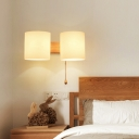 White Glass Cylinder Wall Lighting Asian 2 Heads Wood Sconce Light Fixture for Bedside