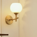 Armed Sconce Light Contemporary Metal 1 Bulb Brass Wall Mount Lighting with Opal Glass Shade