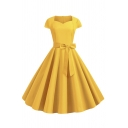 Glamorous Women's Short Sleeve Sweetheart Neck Bow tie Waist Plain Midi Pleated Flared Dress