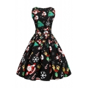 Dressy Girls' Sleeveless Boat Neck Bow Tie Waist All Over Christmas Print Midi Pleated Swing Dress