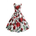 Retro Amazing Women's Sleeveless Round Neck Buckle Belt All Over Rose Print Midi Pleated Swing Dress in White