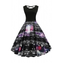 Vintage Prom Black Sleeveless Round Neck Hollow Out Back All Over Music Note Patched Mid Pleated Swing Dress for Girls