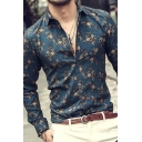 Men's Vintage Floral 3D Printed Long Sleeves Button Up Slim Fit Hawaiian Shirt