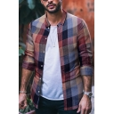 Men's Fashion Contrast Plaid Printed Long Sleeves Button-Up Slim Fitted Shirt