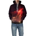 Black and Red Universe Galaxy 3D Printed Long Sleeve Drawstring Hoodie
