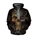 Unique Mechanical Skull 3D Pattern Long Sleeves Relaxed Fit Vintage Hoodie