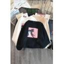 Korean Style Long Sleeve Crew Neck Kitty Pattern Oversize Pullover Sweatshirt for Girls