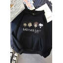 Funny Casual Long Sleeve Letter BAD HAIR DAY Cartoon Character Print Kangaroo Pocket Relaxed Hoodie for Girls