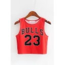 Cute Cartoon Face Letter BULLS Printed Round Neck Sleeveless Cropped Tank
