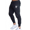 Men's Simple Number Printed Drawstring Waist Relaxed Fit Plain Sweatpants