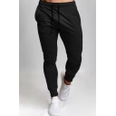 Mens Simple Plain Drawstring Waist Relaxed Fit Sport Training Gym Pants
