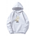 Unisex Popular Cartoon Eagle and Letter Printed Long Sleeves Loose Fit Drawstring Hoodie