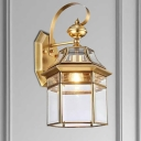 Traditionalism Lantern Wall Mount Light Single Bulb Metal Wall Lighting Fixture in Brass