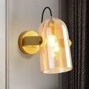Brass Finish Cloche Sconce Light Retro Style 1 Bulb Amber/Blue/Smoke Gray Glass Wall Mounted Lamp Kit