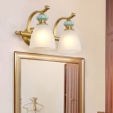 Bowl Bathroom Wall Sconce Lighting Traditional Metal 2/3 Bulbs Brass Wall Mounted Vanity Light