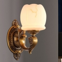 Global Shade Hallway Wall Lighting Vintage Stylish Opal Glass 1/2-Light Gold Finish Sconce Lamp