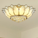 6-Light Scalloped Flush Mount Lamp Traditional Gold Frosted Glass Ceiling Mounted Fixture for Living Room